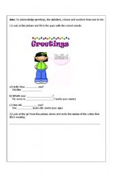 English Worksheets: Activity about greetings, the alphabet, colours and numbers from one to ten