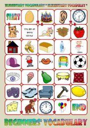 English Worksheet: Basic Vocabulary Board Game