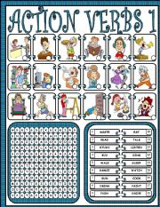 English Worksheet: Action verbs 1