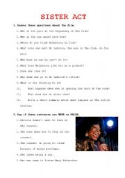English Worksheets: Activities for Sister Act film