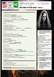 English Worksheets: Song - SET FIRE TO THE RAIN - Adele