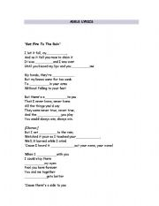 English Worksheets: Adele lyrisc