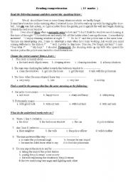 English Worksheets: reading comprehension