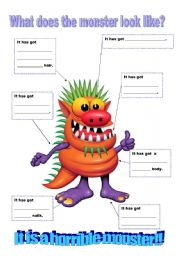 advertise here vocabulary worksheets describing people monsters ...