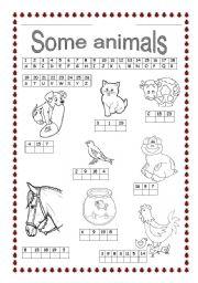 English Worksheets: some animals