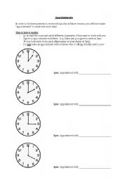English Worksheets: Appointment sheet for partner work (classroom management efficiency)