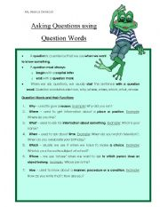 English Worksheets: Question Words Notes Handout