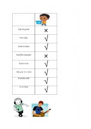 English Worksheets: routine chart