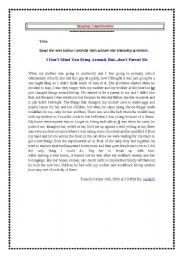 English Worksheets: reading comprehension ( family issues: stepmother)