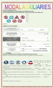 English Worksheet: MODAL AUXILIARIES-