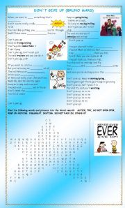 English Worksheets: Don`t Give Up (Bruno Mars)