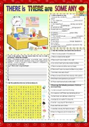 english worksheets some any there is there are. Black Bedroom Furniture Sets. Home Design Ideas