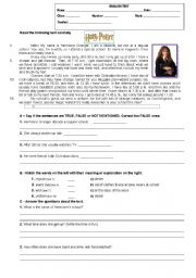 English Worksheet: Test on Daily Routine activities