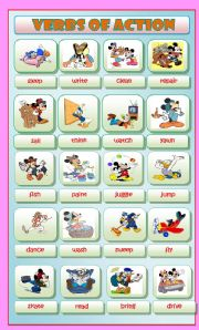 English Worksheets: Actions Verbs with Disney Characters