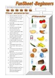 English Worksheet: FunSheet for Beginners: Picnic