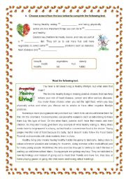 English Worksheet: Healthy living
