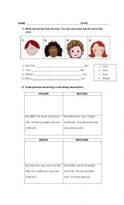 English Worksheets: Personal description
