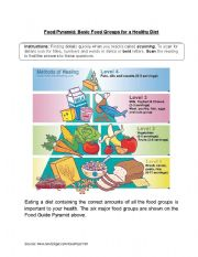 English Worksheet: Food Pyramid Comprehension Text