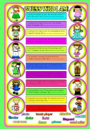 English Worksheet: GUESS WHO I AM!!