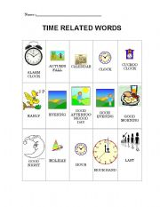English Worksheet: Time related words