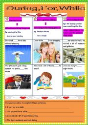English Worksheets: during for while