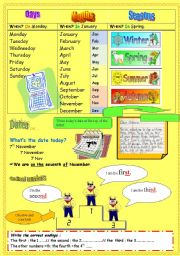 English Worksheet: practising the date part 1
