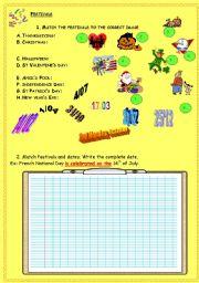 English Worksheet: practising the date part 2