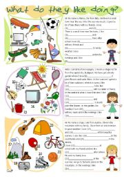 English Worksheets: What do they like doing?
