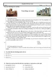 English Worksheet: Test (9th grade) Travelling Around