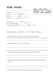 English Worksheet: Pink Floyd - Another brick in the wall