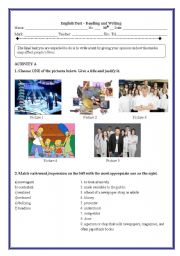English Worksheet: Test 10th - The media, stardom, fame (4 pages)