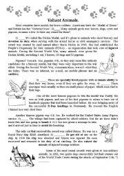 English Worksheets: Animals at War