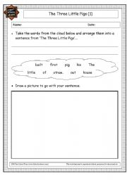 English Worksheets: the three little pig