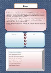 English Worksheets:  Pens- comprehension and worksheet