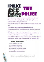 English Worksheets: The police (Biography, Song, Vocabulary)