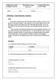 English Worksheets: reading comprehension for 7 th form n�2