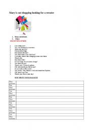 English Worksheet: Shopping dialogue and practice