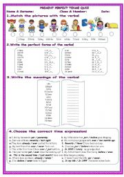 English Worksheet: Present Perfect Tense*with all forms*