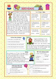 English Worksheets: Birthdays (2 pages, +KEY)