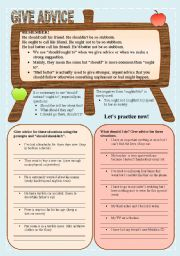 English Worksheet: give advice
