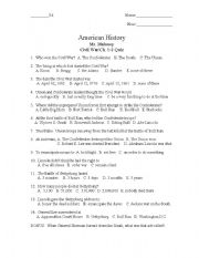 English Worksheet: Civil War Quiz