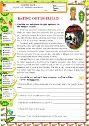 English Worksheet: Eating Out in Britain  -  Reading Test