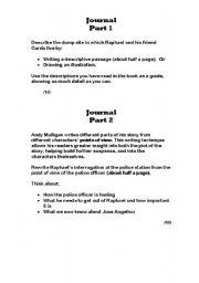 English Worksheets: Andyb Mulligan�s Trash novel weekly Journal