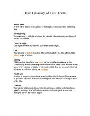 English Worksheets: Basic Film Terms