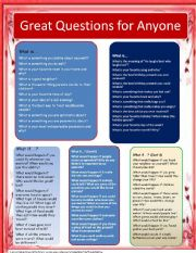 English Worksheets: Great Questions for Anyone
