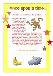 English Worksheets: Story time (reading, analyzing and writing)