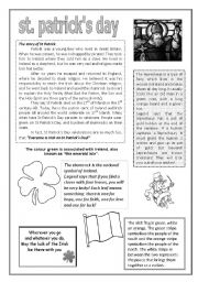 English Worksheet: St Patrick´s Day handout