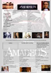 English Worksheets: AMADEUS FULL MOVIE WORKSHEET