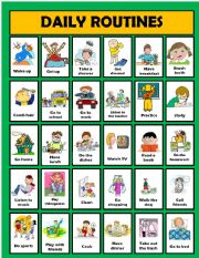 English Worksheets: Daily routine activities (editable)