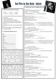 English Worksheets: Song: Set Fire to the Rain - Adele